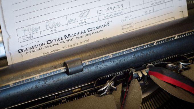 Bremerton Office Machine Company typewriter detail