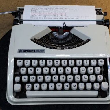 Hermes Baby Typewriter, All White – For Sale $350