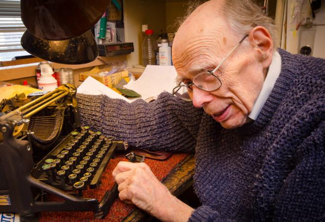 Robert Montgomery, age 92 reparing vintage typewriter