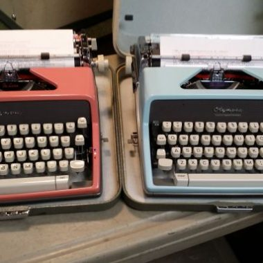 Pink and Blue Olympia SM9 Typewriters